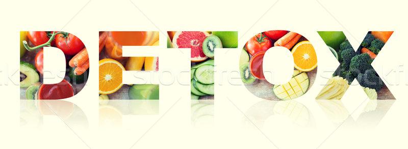 Gezond eten vegetarisch dieet woord sap Stockfoto © dolgachov