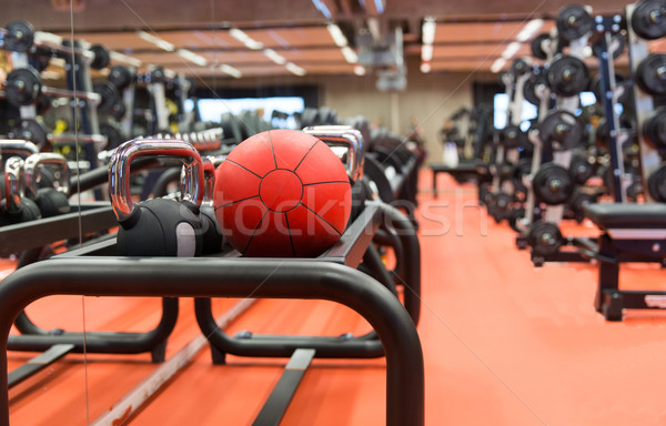 medicine ball and sports equipment in gym Stock photo © dolgachov