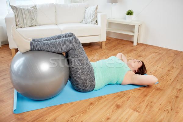 Plus size nő testmozgás fitnessz labda sport Stock fotó © dolgachov