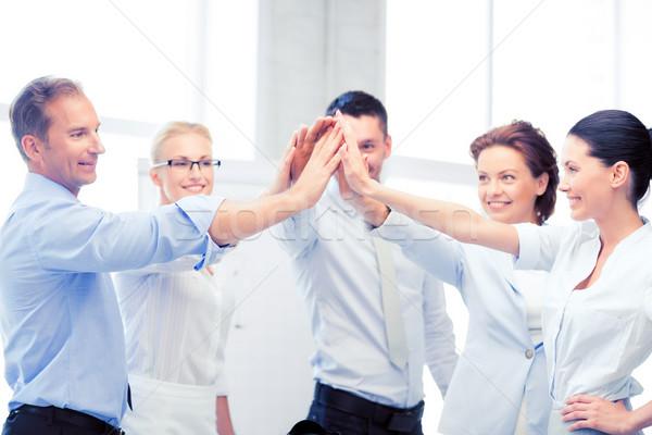 Iş ekibi zafer ofis resim mutlu Stok fotoğraf © dolgachov