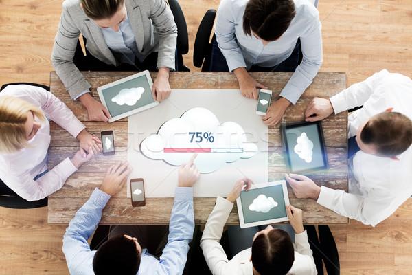 business team with computers cloud computing Stock photo © dolgachov