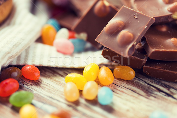 close up of candies and chocolate on table Stock photo © dolgachov
