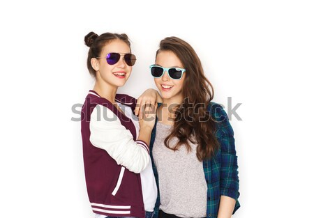 happy smiling pretty teenage girls in sunglasses Stock photo © dolgachov