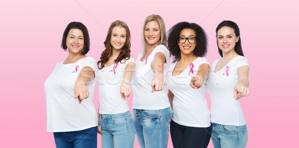 Felice donne consapevolezza nastri Foto d'archivio © dolgachov