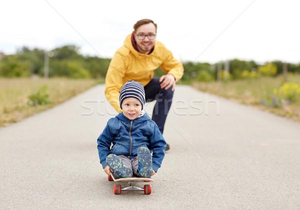 幸せ 父 ライディング スケート ストックフォト © dolgachov