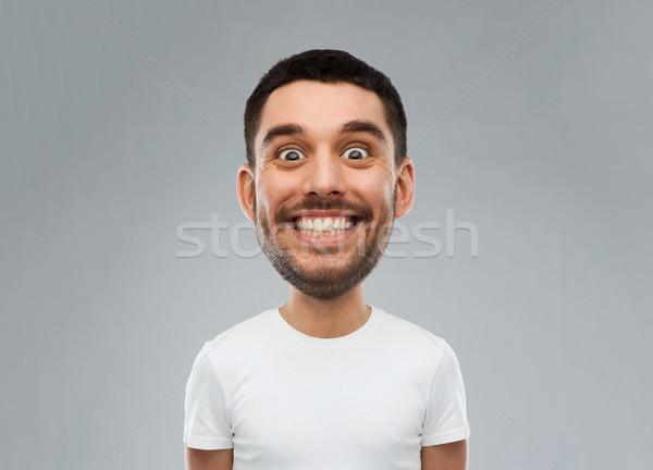 Stock fotó: Férfi · vicces · arc · szürke · emberek · mosolyog · rajz