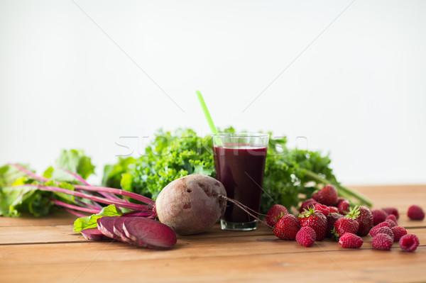 ガラス ビートの根 ジュース 果物 野菜 健康的な食事 ストックフォト © dolgachov
