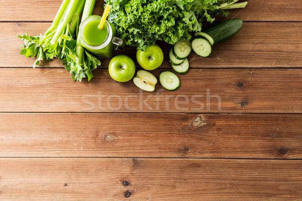 Jarro verde suco legumes alimentação saudável Foto stock © dolgachov