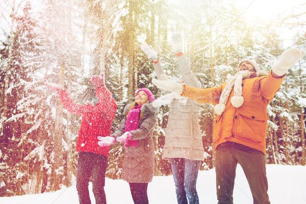 グループ 笑みを浮かべて 男性 女性 冬 森林 ストックフォト © dolgachov