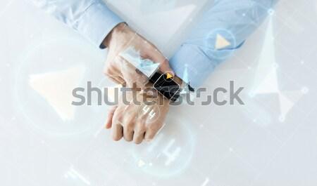 Mão virtual tela projeção negócio futuro Foto stock © dolgachov