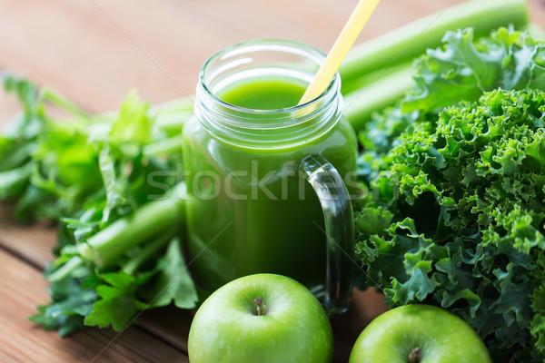Sürahi yeşil meyve suyu sebze sağlıklı beslenme Stok fotoğraf © dolgachov