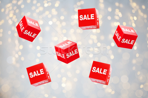 boxes with sale signs over holidays lights Stock photo © dolgachov