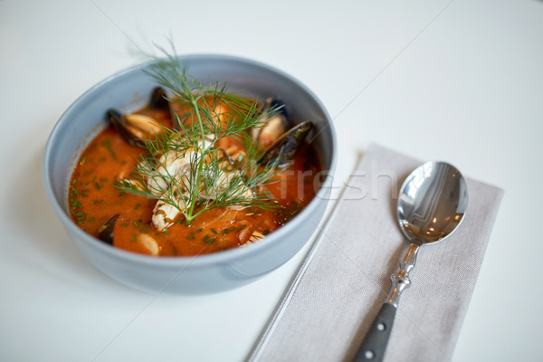 Stock photo: seafood soup with fish and blue mussels in bowl