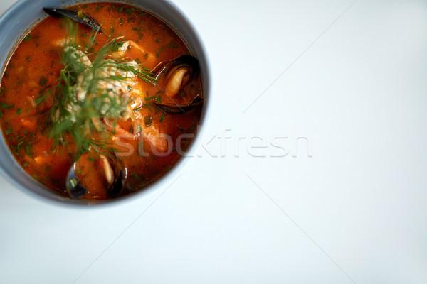 морепродуктов суп рыбы синий чаши продовольствие Сток-фото © dolgachov