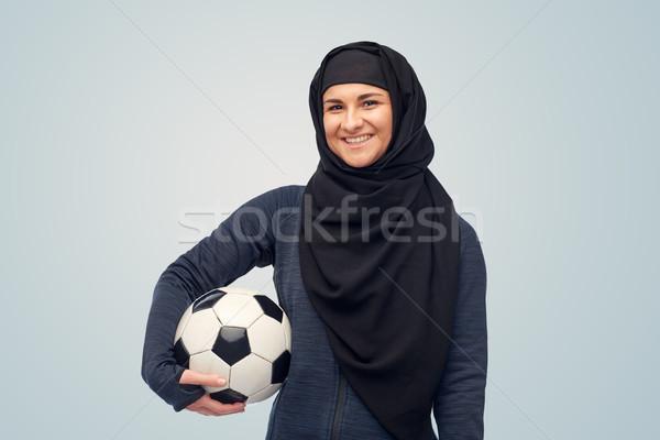 Mutlu Müslüman kadın başörtüsü futbol spor Stok fotoğraf © dolgachov