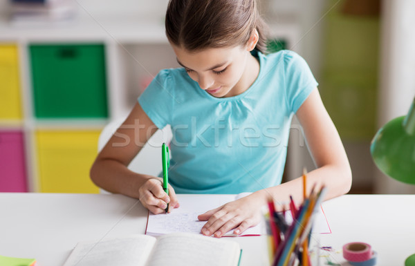 happy girl with book writing to notebook at home Stock photo © dolgachov