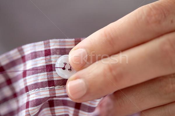 女性 針 ボタン シャツ 人 裁縫 ストックフォト © dolgachov