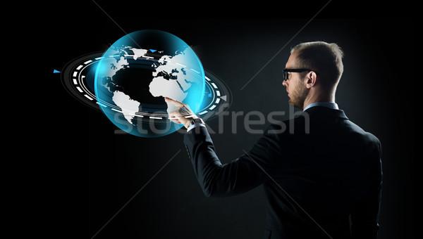 ビジネスマン バーチャル 地球 投影 ビジネス 将来 ストックフォト © dolgachov
