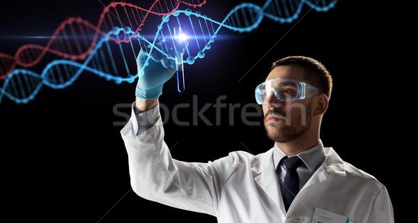 Naukowiec probówki DNA nauki badań genetyka Zdjęcia stock © dolgachov