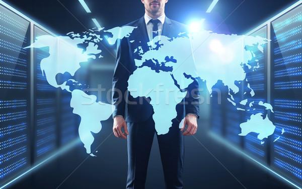 ビジネスマン 世界地図 投影 廊下 ビジネスの方々  技術 ストックフォト © dolgachov