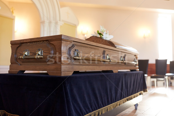 Stock photo: coffin at funeral in orthodox church