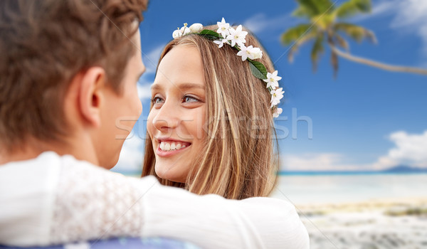 happy smiling young hippie couple on summer beach Stock photo © dolgachov