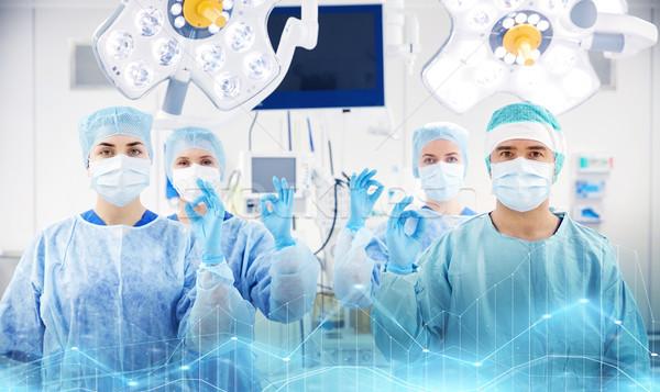 Stock fotó: Csoport · sebészek · műtő · kórház · műtét · gyógyszer