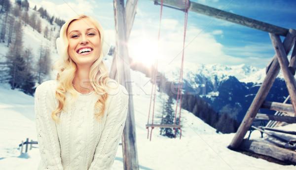 Sorridere inverno maglione vacanze Natale Foto d'archivio © dolgachov