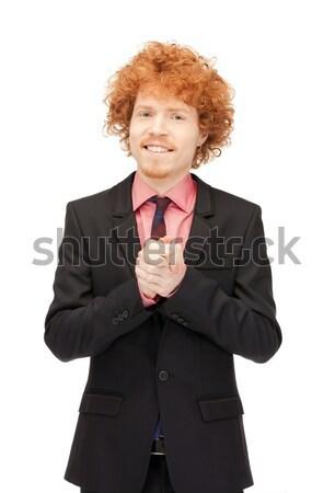 Stock fotó: Jóképű · férfi · fényes · kép · üzlet · férfi · boldog