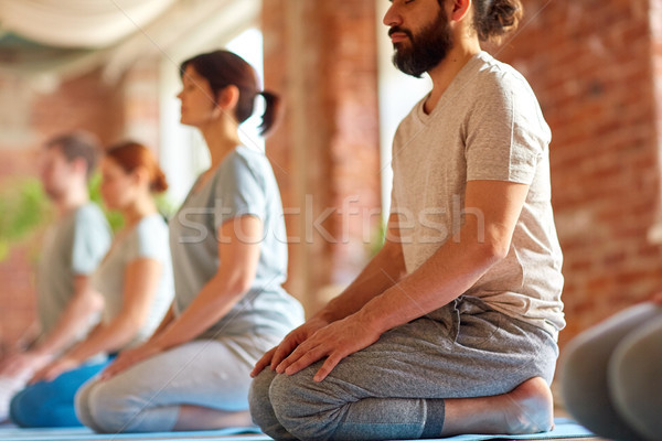 Csoportkép jóga térdel póz stúdió fitnessz Stock fotó © dolgachov