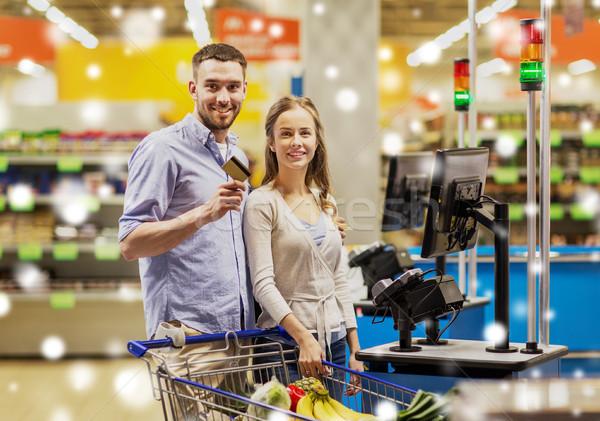 カップル 買い 食品 食料品 ショッピング 販売 ストックフォト © dolgachov