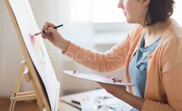 Artista paleta cepillo pintura estudio arte Foto stock © dolgachov