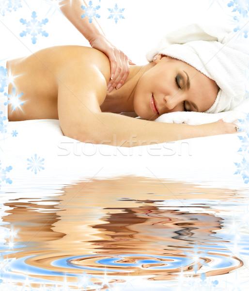 Zawodowych masażu biały piasek zdjęcie pani relaks Zdjęcia stock © dolgachov