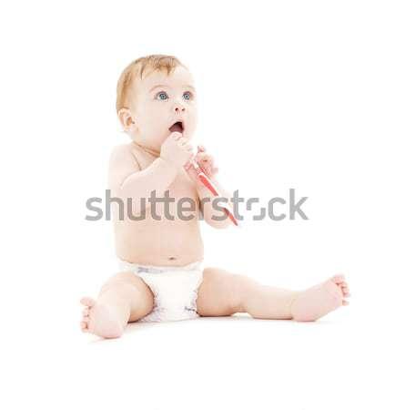 Bebê menino fralda escova de dentes quadro criança Foto stock © dolgachov