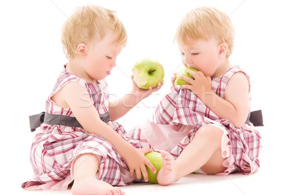 Tweelingen foto twee aanbiddelijk witte voedsel Stockfoto © dolgachov