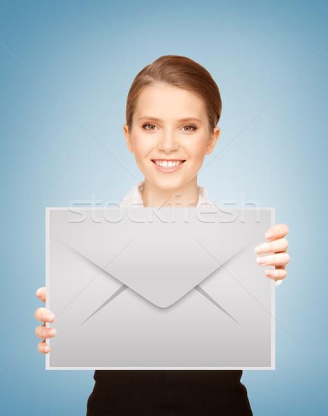 girl showing virtual envelope Stock photo © dolgachov