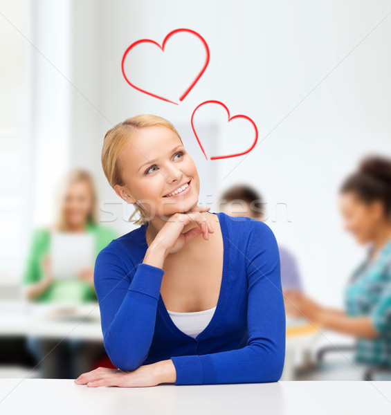 happy woman dreaming Stock photo © dolgachov