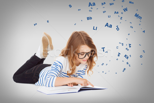 微笑 小 學生 女孩 地板 教育 商業照片 © dolgachov