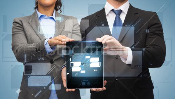 Işadamı işkadını iş teknoloji Internet Stok fotoğraf © dolgachov