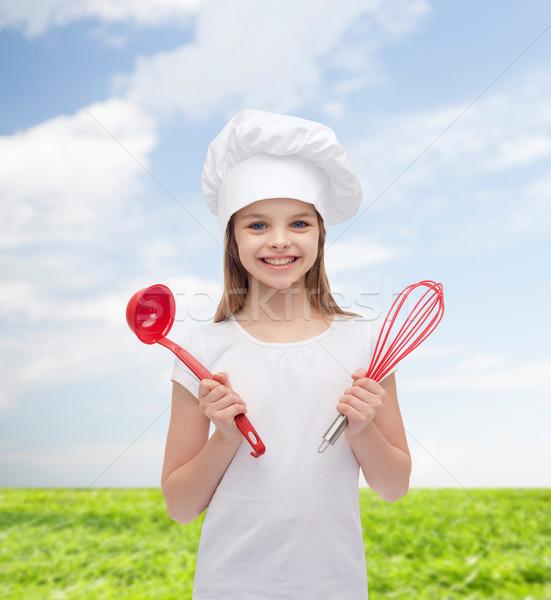 Stockfoto: Glimlachend · meisje · kok · hoed · pollepel