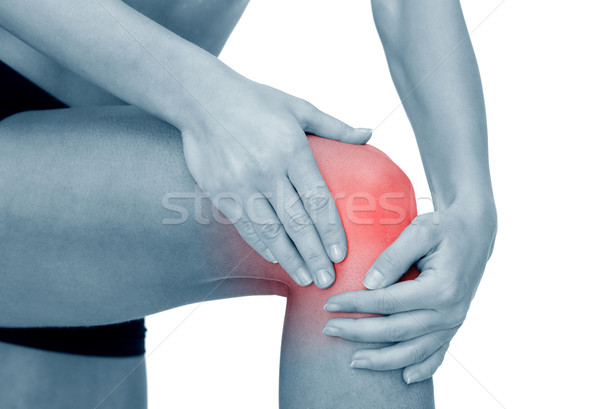 Stock photo: close up of female hands holding knee