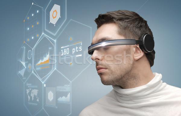 Homem futurista óculos futuro tecnologia pessoas de negócios Foto stock © dolgachov