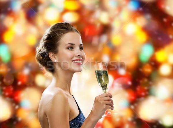 笑顔の女性 ガラス ワイン ドリンク ストックフォト © dolgachov