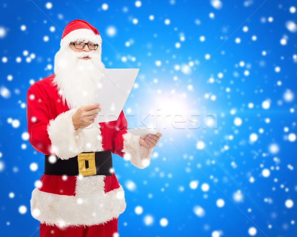 Man kostuum kerstman brief christmas vakantie Stockfoto © dolgachov
