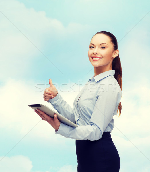 Photo stock: Femme · souriante · regarder · ordinateur · affaires · geste