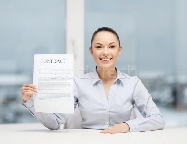 Mutlu işkadını sözleşme ofis iş Stok fotoğraf © dolgachov