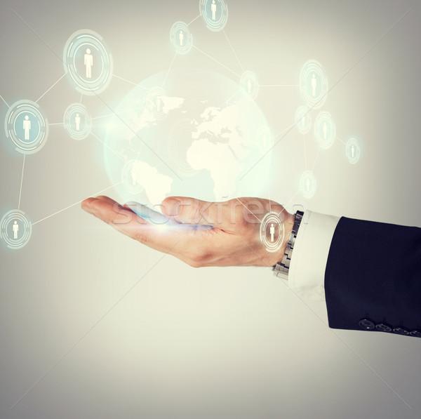 Stockfoto: Hand · hologram · wereldbol · business · technologie