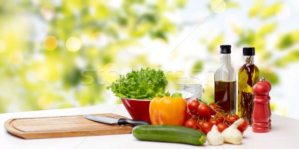 Warzyw przyprawy sprzęt kuchenny tabeli gotowania martwa natura Zdjęcia stock © dolgachov