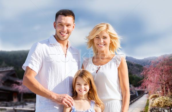 Famille heureuse collines été vacances Voyage tourisme Photo stock © dolgachov