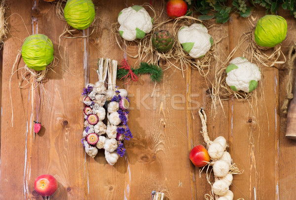 vegetable wall decoration at market or farm Stock photo © dolgachov